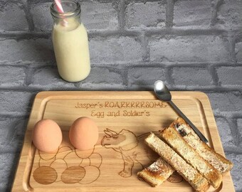 Personalised Wooden egg and soldiers board, dinosaur, roar, children, breakfast, fun, gift
