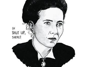 Simone de Beauvoir Literary Poster Print Great Writer Feminist Icon
