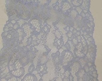 Light blue lace Trim, French Lace, Chantilly Lace, Bridal lace Wedding Lace Scalloped lace Eyelash lace Floral Lace Lingerie Lace LJ44404