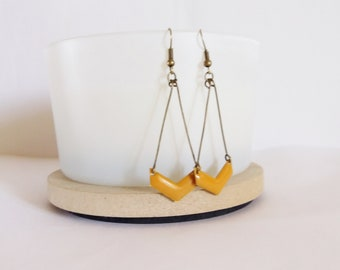 Chevron yellow ochre enamel earrings