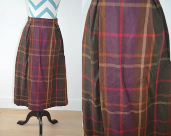 Vintage 1950s Plaid Skirt Autumnal Fall Colors - Brown, Green, Purple, Red Holiday Tartan Plaid Skirt - Small