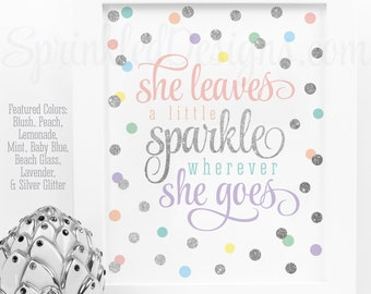 She Leaves A Little Sparkle Wherever She Goes Printable Rainbow Unicorn Birthday Decor Blush Peach Yellow Mint Blue Lavender Silver Wall Art
