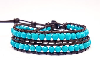 Mixed leather and natural stones bracelet
