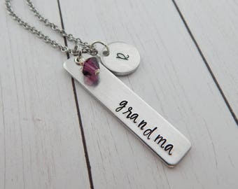 Grandma Gift - grandma Necklace - Gift for Grandma - Grandmother Jewelry - Hand Stamped Custom Bar Necklace - Mothers Day - Pregnancy Reveal