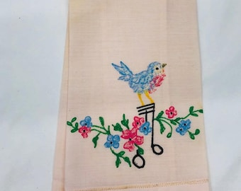 Vintage Painted Bluebird Hand or Tea Towel, Linen Towel.