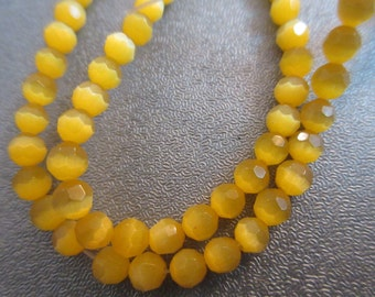 Bright Yellow Cat's Eye Faceted Round 4mm Beads 108pcs