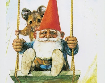 Vintage art print 80s. David the gnome on a swing. By Rien Poortvliet.