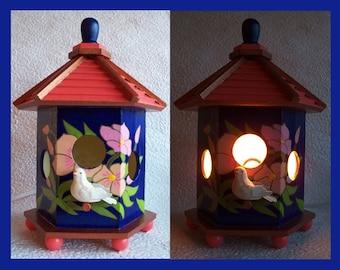 Birdhouse Night Light Lamp, Detailed hand painted design  no. 1, Table  Night Light, Decorative Lighting, Table Lamp