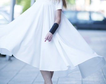 Womens white summer Dress, White Long dress, Maxi dress plus size, Plus size White Evening Dress, Party Dress by EUG fashion - DR0263PLV