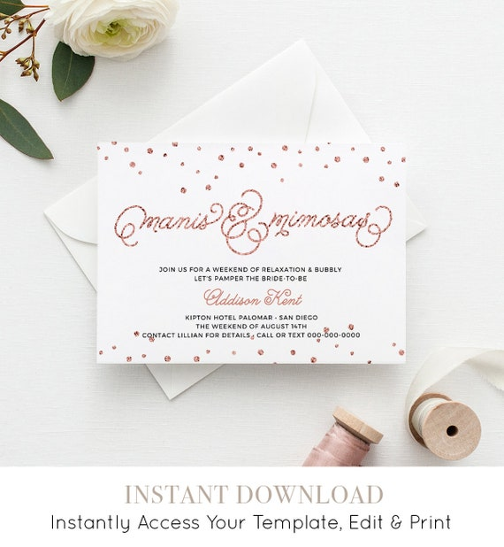 Bachelorette Party Invitation and Itinerary, Spa Weekend, Manis & Mimosas, Rose Gold Glitter, Instant Download, Editable Template #NC-107BP