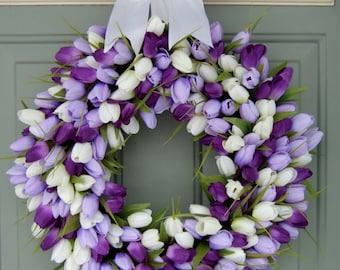 Spring Wreath - Spring Tulip Wreath - Spring Tulip Door Wreath