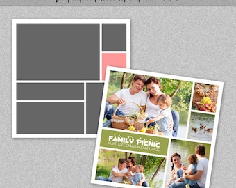 "Photo Storyboard, Photo Collage Template, Photoshop Template 12x12"" - Nr.10 - Instant Download - Instagram Template"