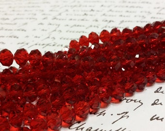 Glass Beads - Red Faceted Beads -  6mm x 4mm  -  Red Glass Beads - 42 pcs.