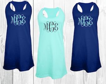 bridesmaid pajamas, monogrammed dress, monogrammed cover up, swim suit cover up, monogrammed pajamas, sleep shirt