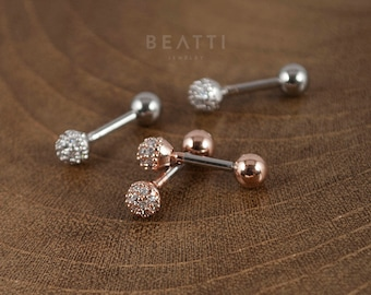 CZ Pave Ball Piercing/Cartilage earring/Tragus stud/conch/helix/Helix/conch/Piercing/Fancy earrings/barbell