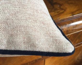 Beige wool pillow cover, wool pillow, velvet navy blue cording, warm pillow cover, pillow with cording, navy cording pillow, gift idea