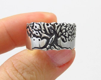 mens wide ring, fathers silver ring, mens statement ring, mens tree ring, personalized silver ring, Family tree ring, mens silver ring