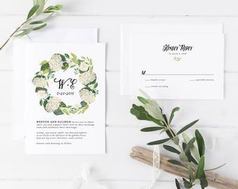 Printable Wedding Invitation Suite | Hydrangea Invitations | Floral Invitations | Botanical Invites | Modern Wedding Invites | WI-037