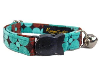 Breakaway Kitten Collar - Teal Kitten Collar -  Cute Kitten Collar in Retro Pop Art Flowers
