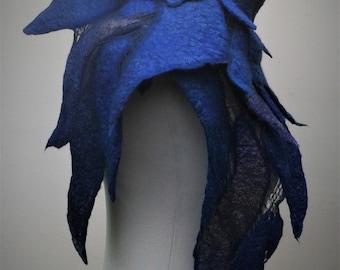 Blue nuno felt shawl.