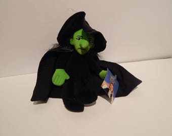 Vintage The Wizard of Oz Wicked Witch of the West Plush 9 inches with Hang Tag and Tush Tag Intact Warner Brothers Studio Store 1998