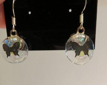 Fused glass butterfly earrings