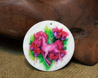 Wee Fairy Horse Among the Fuschias on Flat White Silky Smooth Round Shell