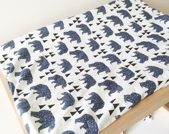 Navy blue bear change table pad cover. Change pad slip cover.