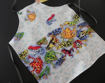 Toddler reversible apron / Frogs in water, frog on pocket