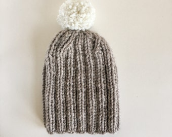 Cosy Ribbed Knitted Handmade Hat in Oatmeal with White detachable Bobble / Pom-pom Beanie