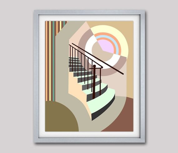 Stairway Wall Decor, Stairway to Heaven, Stairway Art, Staircase Decor, Staircase Art Abstract Art Print, Abstract Wall Art, Geometric Art