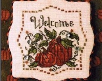 """Sweetheart Tree """"Autumn Pumpkins Welcome"""" Counted Cross Stitch Kit"""