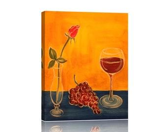 Wine & Rose Canvas Print Art Painting