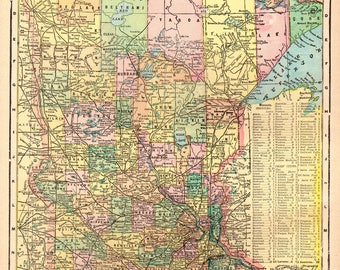 1904 Antique MINNESOTA Map Vintage Map of Minnesota State Map Gallery Wall Art Gift for Birthday Graduation Travel Anniversary 4864