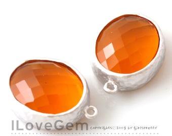 B2721  Matt Rhodium plated, FireOpal, Oval pendant, Glass pendant, Framed glass, Faceted glass charm, 2pcs