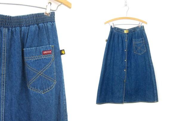 1980's SASSON Jean Skirt Blue Denim Below the Knee Midi skirt 80s Retro Snap Front ALine Skirt Vintage Size 28 Inch Waist Size Medium