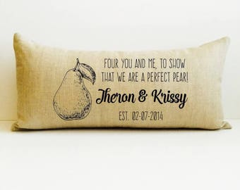 fruit anniversary, 4th anniversary gift, personalized pillow, decorative throw, anniversary gift for husband, name and date pillow, family