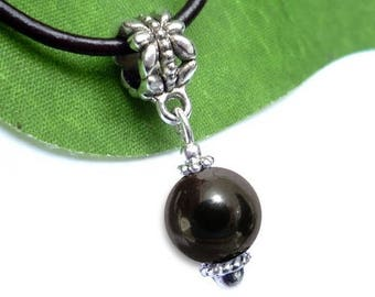 Silver plated sphere pendant - hematite