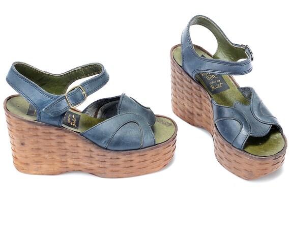 Sandals Boho Platform Navy 5 Wedge European Leather 5 UK