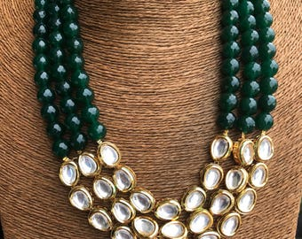 Multi layer kundan & beads necklace set