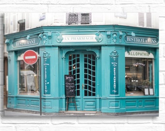 Paris Photography on Canvas - La Pharmacie, Gallery Wrapped Canvas, Large Wall Art, Travel Architecture Urban Home Decor