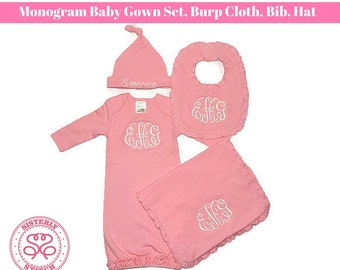 Monogram Baby Gown Set, Monogram bib, Monogram burpcloth, Monogram Hat, Baby Shower gift, New Baby outfit, Homecoming Outfit, embroidered