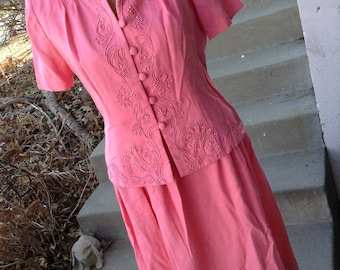 Vintage hipster 80s Karin Stevens pink dress size 8 petite perfect for mother of the bride free domestic shipping