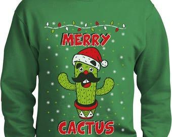 Merry Cactus Funny Ugly Christmas Sweater Merry Xmas Sweatshirt