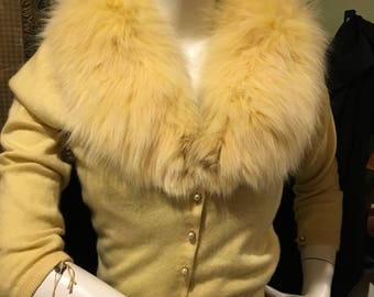 Pringle Cashmere Sweater with Detachable Mink Collar - Pearl Buttons - Pale Yellow - Size Small - Stunning!