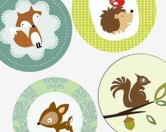 Woodland Creatures - Large Round Images - 2.25 Inch (57mm) - Great for Pocket Mirrors,Coasters,Buttons,Magnets - Digital Instant Download