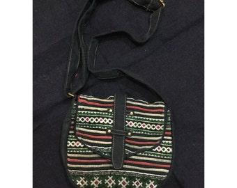 Vintage Handmade Tribal BlackHmong embroidered cotton shoulder bag
