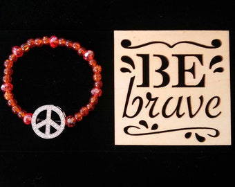 Peace and Sunsets - beaded stretch bracelet