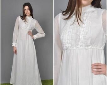 1970s White Emma Domb Flower Child dress  | vintage 70s dress | 1970s white cotton voile lace 70s maxi dress