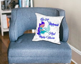 Be A Mermaid and Make Waves Sequin Pillow/Custom printed sequin pillow case/hidden image/secret image/Personalized